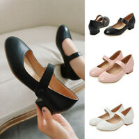 Women Closed Toe Comfort Ankle Strap Chunky Heel Round Toe Mary Jane Dress Shoes