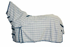 AXIOM POLYCOTTON BLUE CHECK RIPSTOP UNLINED HORSE COMBO RUG 6'9