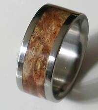 Titanium Ring With Brown Burl Wood Inlay - FREE Ring Box
