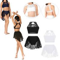 Girls Lyrical Ballet Dress Jazz Lace Bra Tops+Skirt Shorts Modern Dance Costumes