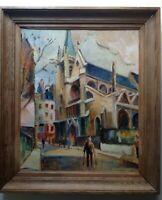 Rue Mouffetard PARIS Eglise Saint Medard goût MACLET Tableau Huile Paysage c1950
