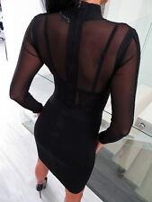 LUXUS SCHWARZ KLEID STRETCH ORIGINAL VINCE DAMEN TOP A127 WOMEN BLACK DRESS M