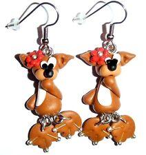 Ohrringe Fuchs Tiere Blumen Blüten Fimo Braun Damen Ohrschmuck Modeschmuck