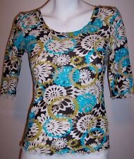 Sigrid Olsen Top S Floral Nylon Stretch Knit Shirt Blouse Womens Petite Small PS