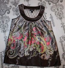 A. Byer Womens sz Small Brown Pink Paisley Blouse Top