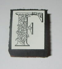 "F Rubber Stamp Foam Mounted Letter Initial Flowers All Night Media 1"" High NOS"