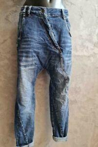 Melly & Co Damen Boyfriend Baggy Jeans tiefer Schritt Hose Quernähte 34-42 NEU
