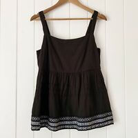 Anthropologie Amit Aggarwal Tank Top Small Black White Embroidered Olivia