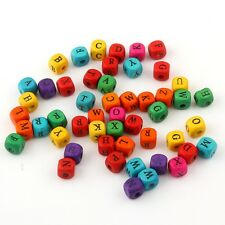 100pcs Mixed Eco-Friendly Letter Square Dye Wood Loose Beads DIY Bracelet Making