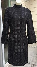 Byblos Vintage Black White Wool Sheath  Dress Sz 4