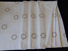 VINTAGE IMMACULATE CREAM COTTON DAMASK HAND EMBROIDERED HUGE TABLECLOTH  260X132