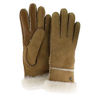 NWT UGG Women's Sheepskin Exposed Slim Tech Gloves in Chestnut Size Large