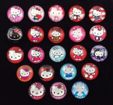 HELLO KITTY 20mm GLASS DOME FLATBACK CABOCHON EMBELLISHMENTS SCRAPBOOKS 22pcs