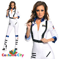 Womens Ladies Sexy Astronaut Space Woman Fancy Dress Halloween Hen Party Costume