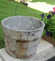 ANTIQUE SHAKER STAVED WOOD BUCKET/PAIL W/BAIL HANDLE & GRIP