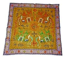 Elephant Embroidered Handmade Ethnic Tapestry Rajasthani Fabric Wall Hanging E01