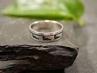 Hübscher 925 Sterling Silber Ring Blau Modern Groß Indianer Ethno Hippie Goa