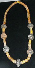 Vintage African Trade Bead Necklace, 7 spindles