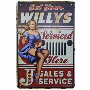 Willys Jeep Metal Tin Sign Retro Homewares Decor Vintage Pinup Garage Car WW2