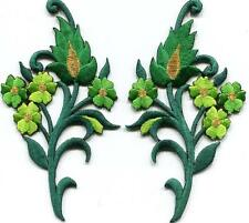 Shamrock green flowers blossoms pr. embroidered appliques iron-on patches S-1390