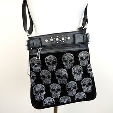 Handbag Express Black Crossbody SKULLS Studded Jewel Purse NEW Goth