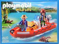 PLAYMOBIL 5559 Schlauchboot mit 2 Wilderern 2 Fischotter Gans 2 Fische NEU NEW