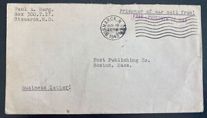 1943 Bismarck ND USA Fort Lincoln Interment POW Camp Cover to Boston MA