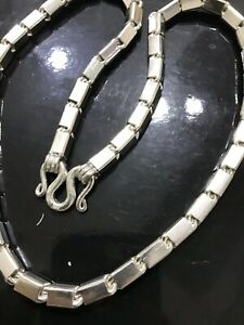 999 FINE silver  Handmade Baht Box Chain Necklace Approx 250.00 Grams 24 inch