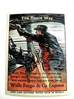 """1919 Collectable Poster Stamp """"Wells Fargo & Co. Express"""" """"The Rapid Way """" *"""