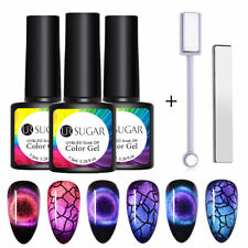 3 Bottles UR SUGAR 9D Magnetic Gel Nail Polish Blue Set with 2 Magnetic Sticks