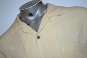 12182-a Tommy Bahama Hawaiian SILK Shirt Size Large Off Yellow