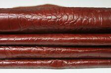 REDDISH BROWN CROCODILE embossed Italian Goatskin leather 3 skins 20sqf 0.6mm