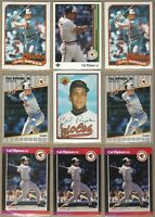 1989 CAL RIPKEN Jr Cards - 9 Card Lot - Topps, Donruss, Fleer, Bowman. UpperDeck