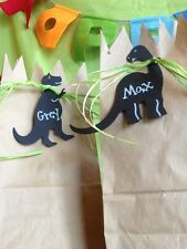 24 Chalkboard Dinosaur T-rex Brontosaurus Birthday party favor tags labels W/tie