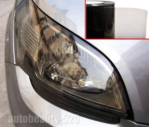 "12"" x 60"" Glossy Car Headlight Taillight Vinyl Wrap Film Fog Tint Light Black CF"