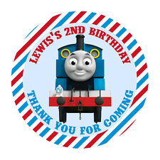 12x PERSONALISED THOMAS THE TANK ENGINE 60MM ROUND STICKERS THANK YOU SEAL TAGS