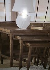 3 Brown Rustic Wood Nesting Tables Accent Coffee Table Living Room Multi Use New