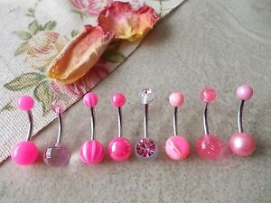 1 X PINK BELLY BAR, TITANIUM or STEEL,LENGTH 6MM,8MM,10MM,12MM, 14MM, 16MM