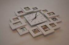 12x Multi-Photo Wall Clock - Home Decor Gift - Silent Motion Kitchen Living Room