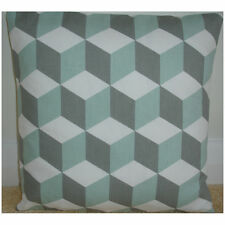 "14"" Cushion Cover Duck Egg And Grey Cubes 3D Cube Modern Geometric Escher Retro"