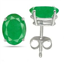 8x6 Oval Shape Emerald Earrings in 14k White Gold