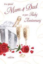 RUBY WEDDING ANNIVERSARY MUM & DAD CARD 40 YEARS GOOD QUALITY BEAUTIFUL VERSE