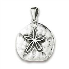 Sterling Silver Detailed SAND DOLLAR Sea Life Pendant Charm 925 Jewelry