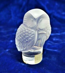 Signed LALIQUE Art Frosted Crystal Owl Shape Paperweight Figurine Original Lable