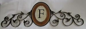 Antiqued Finish Metal Scroll Monogram Wall Plaque with Letter F - New