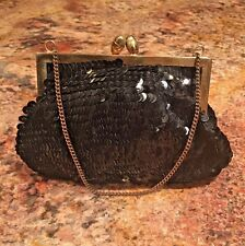 Black Beaded small evening bag Vintage handbags Fancy Clutch Gold Strap sequined
