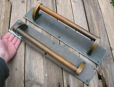 "Old Large Pair Of Bronze Door Pull Handles / Shop / Pub / Bar / Restaurant 16"""