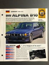 "1988 - 1995 BMW Alpina B10 Sedan IMP ""Hot Cars"" Spec Sheet Folder Brochure L@@K"