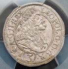 "1695, Hungary, Leopold I ""the Hogmouth"". Silver 3 Kreuzer. Nagybanya! PCGS UNC+"