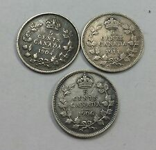 lot of Canada 5 cents-1906,1904,1911